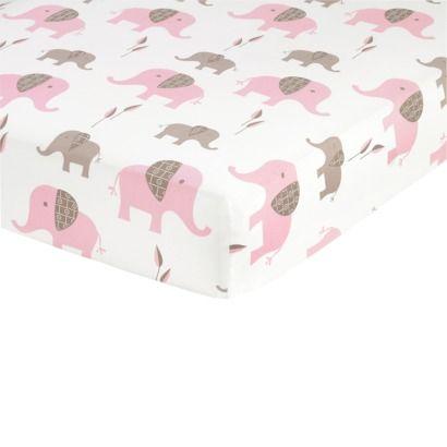 GIRL Sweet Jojo Designs Elephant Fitted Crib Sheet - Print