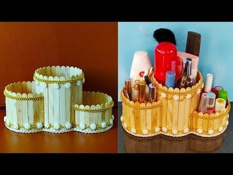 Diy Makeup Holder Made From Popsicle Sticks Makeup Box Ice