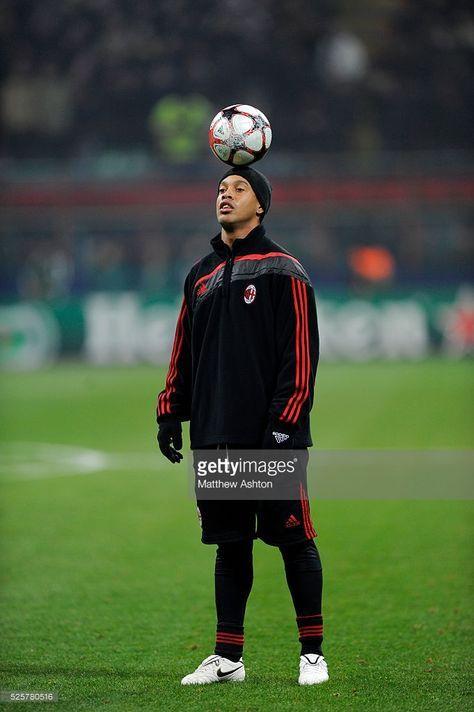 Ronaldinho Of Ac Milan Balances A Ball Upon His Head With Images