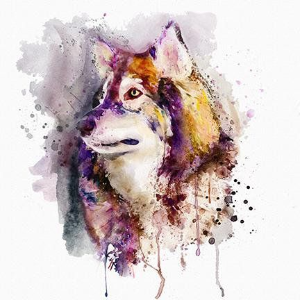 Printable Watercolor Portrait Of A Wolf Head Instant Download