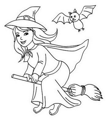 Witch Flying With A Bat Coloring Page Witch Coloring Pages Halloween Coloring Pages Halloween Coloring