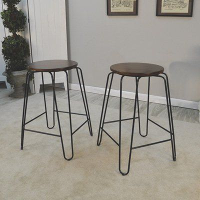 Carolina Forge Ian 2 Pc Stacking Counter Stool Set 24in Elm Finish Counter Stools Backless Counter Stools Round Bar Stools