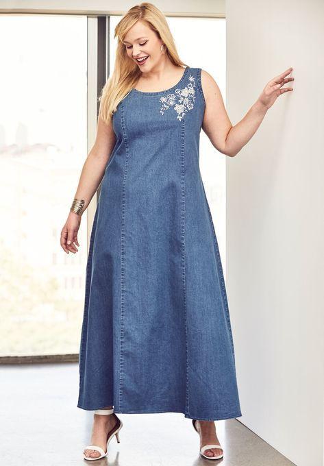 Denim Maxi Dress, | Plus size women\'s fashion in 2019 | Denim maxi ...