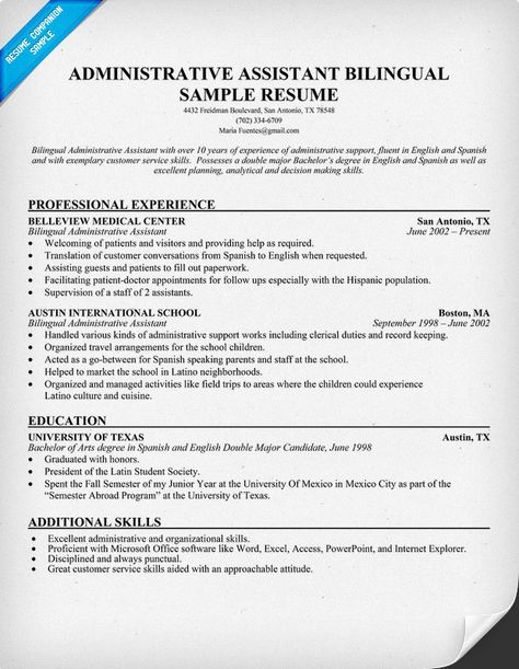 Administrative Assistant Bilingual Resume (resumecompanion - physiotherapist resume sample