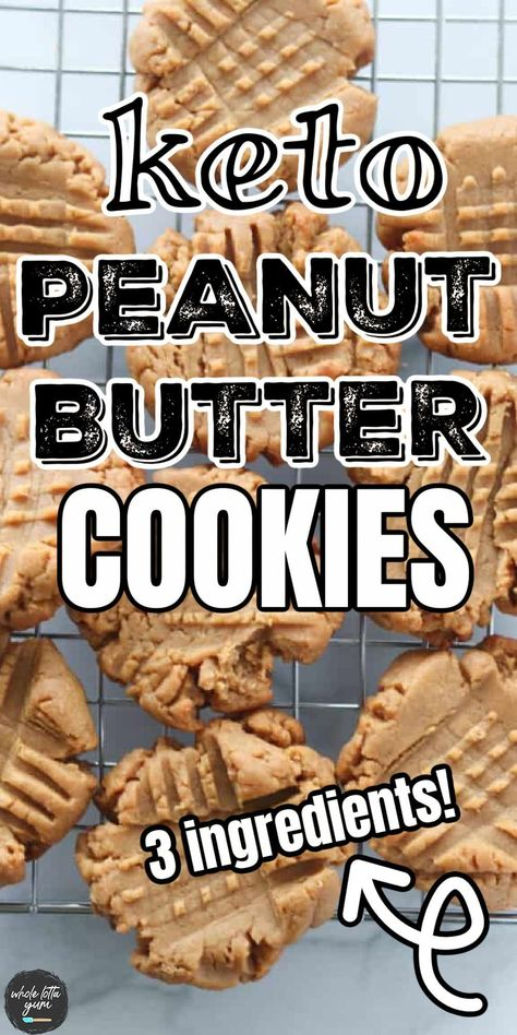 Easy keto peanut butter cookies with 3 ingredients that make the best healthy keto dessert and snack. The healthy peanut butter cookies are low carb and gluten free too.