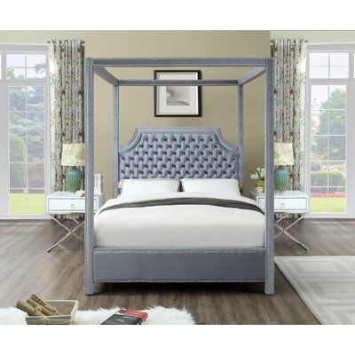 Emet Upholstered Canopy Bed Meridian Furniture Queen Canopy Bed Canopy Bedroom Sets
