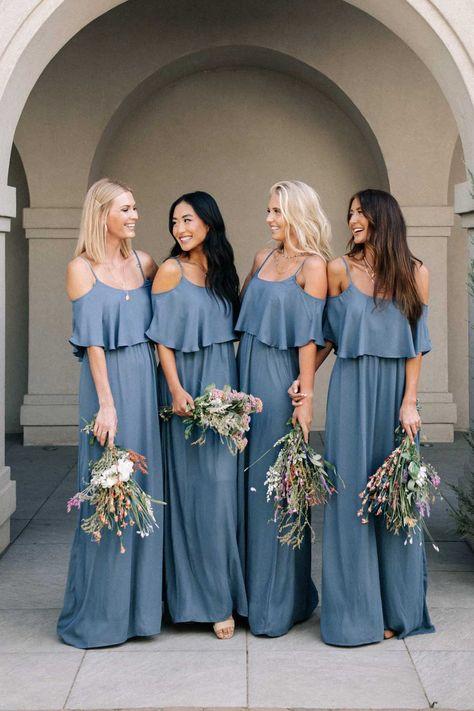 Dusty Blue Bridesmaid Dresses, Dusty Blue Weddings, Affordable Bridesmaid Dresses, Bridesmaid Ideas, Blue Dresses For Wedding, Wedding Ideas Blue, Blue Wedding Colors, Dusty Blue Dress, Fall Wedding Bridesmaids
