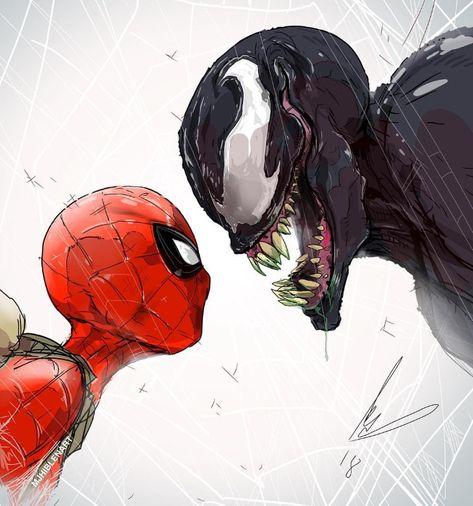 Spiderman cara a cara con el villano Venom. Dibujo digital.