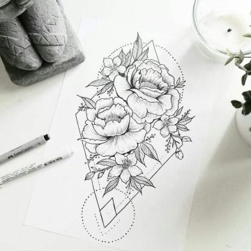 Ejemplos De Disenos Y Bocetos De Rosas Para Tatuar Boceto De Rosa Diseno De Tatuaje Geometrico Forma De Tatuaje