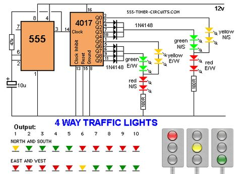 4 Way Traffic Lights Diagram Electronic Circuit Projects