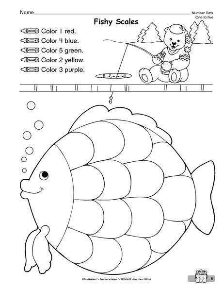 Math Worksheet Making Sets To 5 The Mailbox Rainbow Fish Activities Fish Activities Rainbow Fish Preschool worksheets age 5