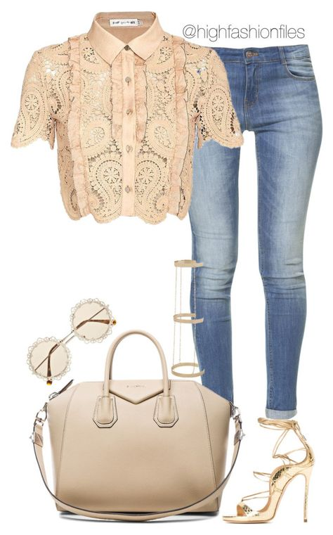 """""""Casual in Lace"""" by highfashionfiles ❤ liked on Polyvore featuring Zara, self-portrait, Givenchy, Dsquared2 and River Island"""