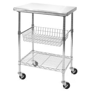 Seville Classics Stainless Steel Kitchen Cart With Basket