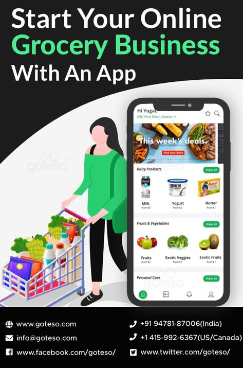 The trend of online grocery shopping is rapidly burgeoning in this time-poor world. Due to this surge in the use of online grocery shopping apps, the grocery business owners have started putting their money in grocery app development. If you are also a grocery business owner who is thinking to get an online grocery delivery app, contact us at info@goteso.com    #groceryapp #appdevelopment #mobileapps #grocerybusiness #mobileappdevelopment #grocery #mobileapplicationdevelopment #business