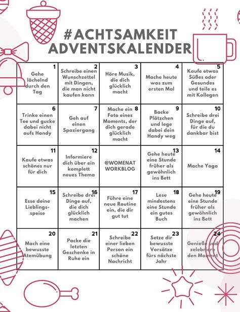 Mindfulness Advent Calendar - 24 days for more self-care in the run up to Christmas - Women at Work #advent #calendar #christmas #mindfulness #women
