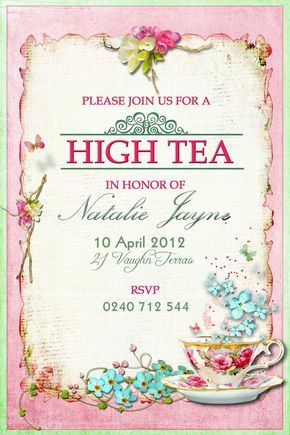 Make Your Own Tea Party Invitations Designs   Buy this card & Get 15% off) with code STUCKONUZAZZ