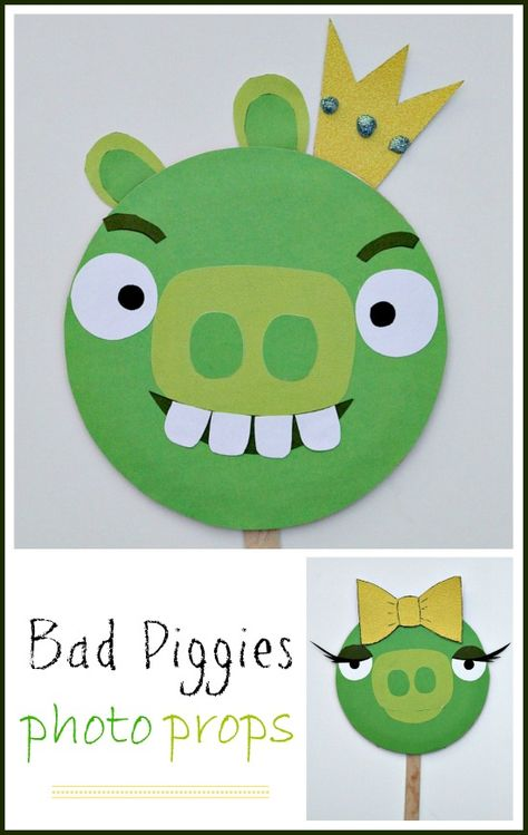 Bad Piggies masks for kids. Great craft for Angry Birds parties.