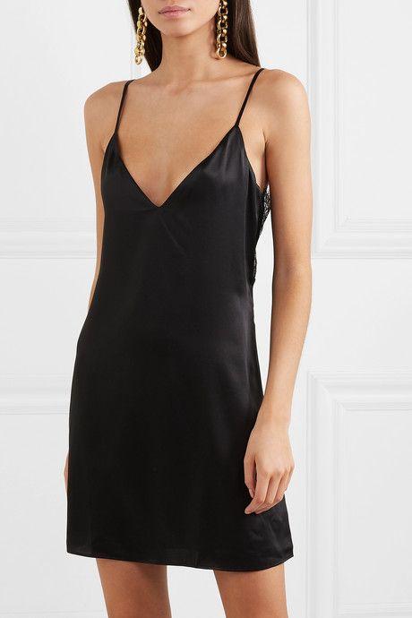 The Thalia Lace Paneled Silk Charmeuse Mini Dress Black Short Dress Silk Charmeuse Black Silk Dress