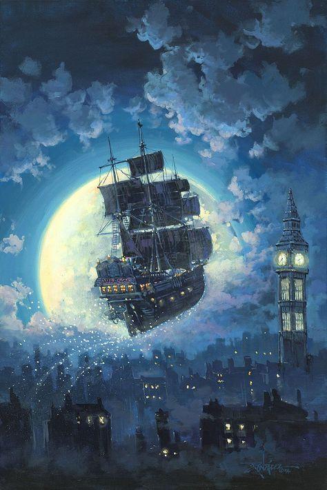 Peter Pan Walt Disney Fine Art Rodel Gonzalez Signed Limited Edition of 195 on Canvas