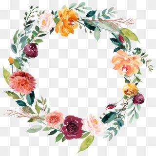 This Graphics Is Garland Vector About Watercolor Flowers Orange Flower Wreath Transparen Floral Wreath Watercolor Watercolor Flower Wreath Flower Bouquet Png
