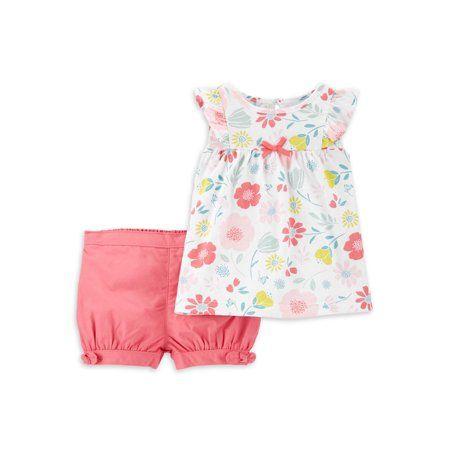 Shorts Outfit Set Infant Baby Boy Girl Stripe Dot Printed Short Sleeve Shirt
