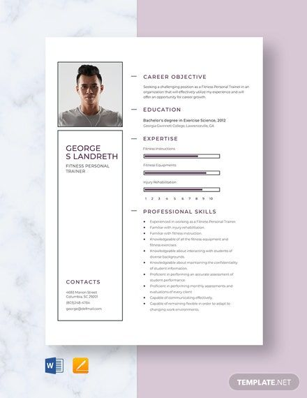 Fitness Personal Trainer Resume Template Free Pages Word Apple Pages Template Net Resume Template Downloadable Resume Template Resume Template Free