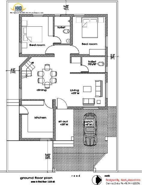 Ground Floor Plan Of Modern House Design 1809 Sq Ft Kerala House Design Modern Floor Plans Indian House Plans