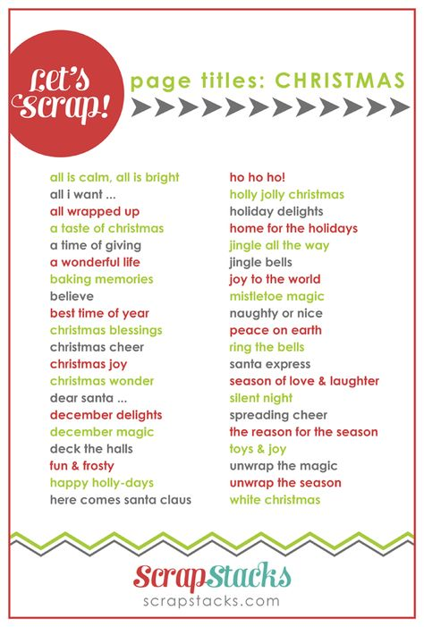 christmas page title ideas for scrapbooking from scrap stacks