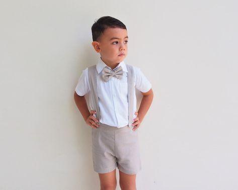 Boy Suspender Shorts  Beige Linen Shorts  Page Boy suit | Etsy