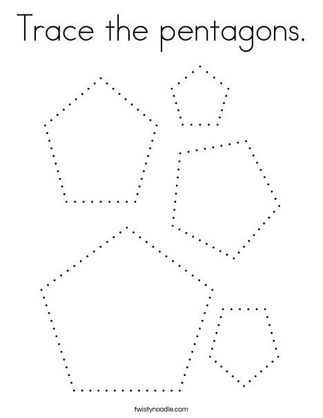 Trace The Pentagons Coloring Page Twisty Noodle Preschool