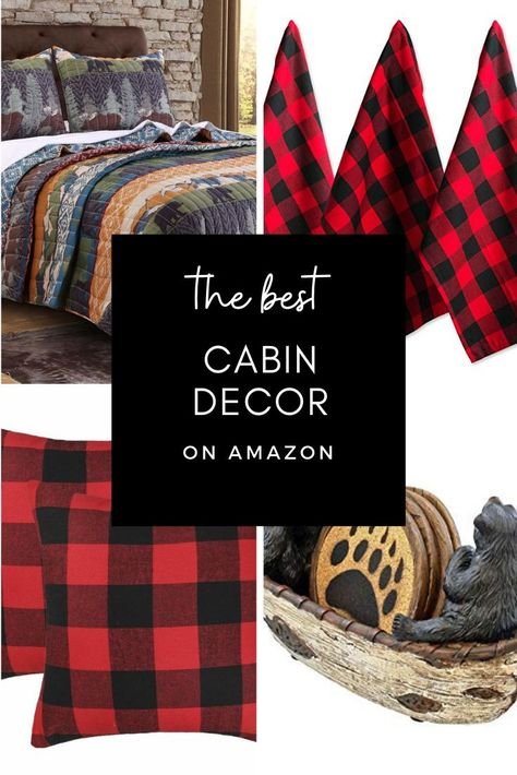 favourite merchandise A roundup of one of the best cabin & rustic decor to your log cabin from Amazo Mountain Cabin Decor, Diy Log Cabin, Cabin In The Woods, Rustic Cabin Decor, Western Decor, Log Cabins, Rustic Cabins, Jackson Hole, Christmas Lodge