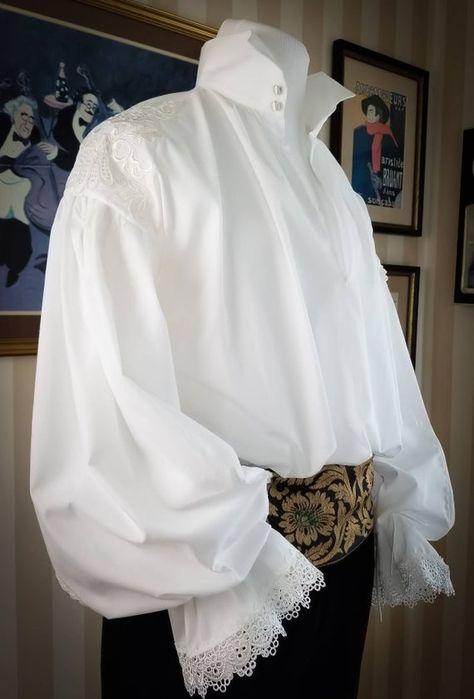 Poet Shirt, Royal Clothing, Prince Clothing, 18th Century Fashion, 17th Century Clothing, High Collar Shirts, Lace Shirts, Dress Shirts, Victorian Shirt