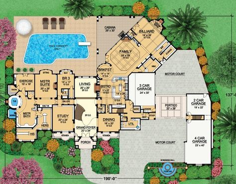 House Plan 5445 00230 Luxury Plan 14 727 Square Feet 8 Bedrooms 10 Bathrooms Country Style House Plans Luxury House Plans House Floor Plans