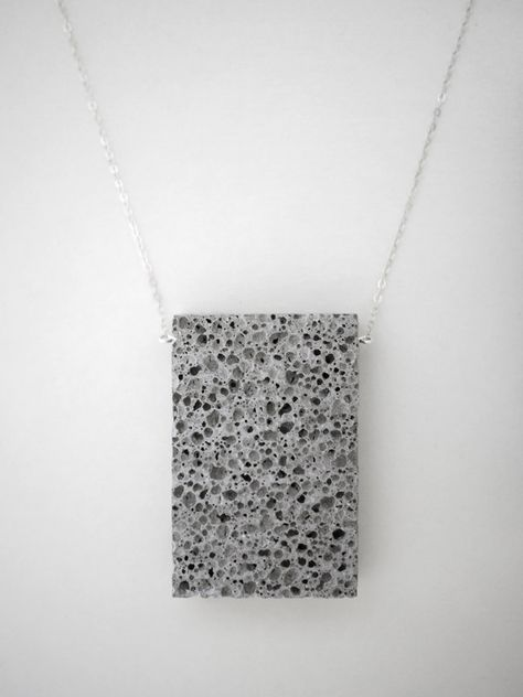 Lightweight Aerated Concrete Necklace - Large Slab Pendant USD) by itmothy