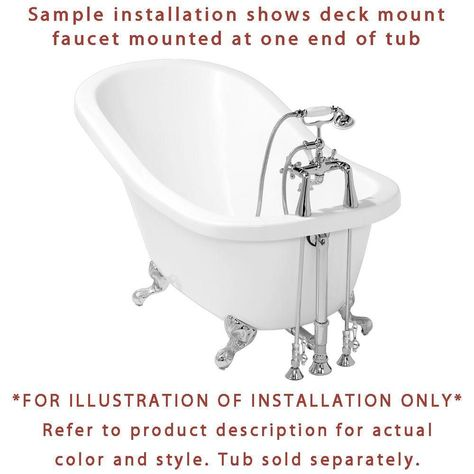 Chrome Deck Mount Clawfoot Tub Faucet Package W Drain Supplies