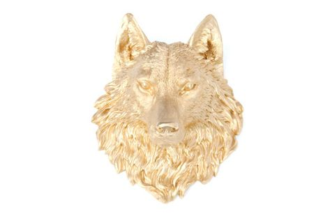 Wolf Head Wall Mount Faux Taxidermy Gold Resin Wolf Head Wall Mount Fake Animal Head Wolf Wal Faux Taxidermy Animal Heads Taxidermy