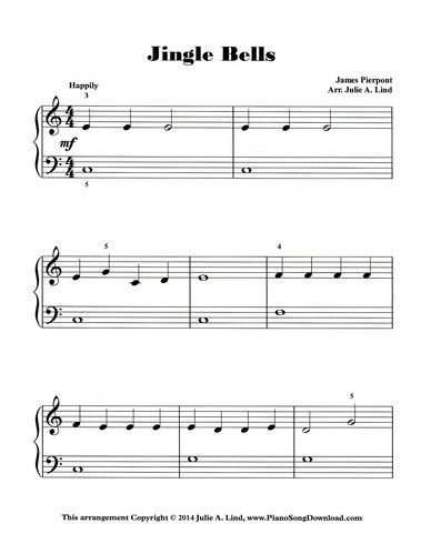 Jingle Bells Easy Piano Sheet Music Free Printable With Images