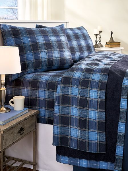 Heathered Plaid Portuguese Flannel Sheet Set Plaid Bedding Flannel Bed Sheets Flannel Bedding