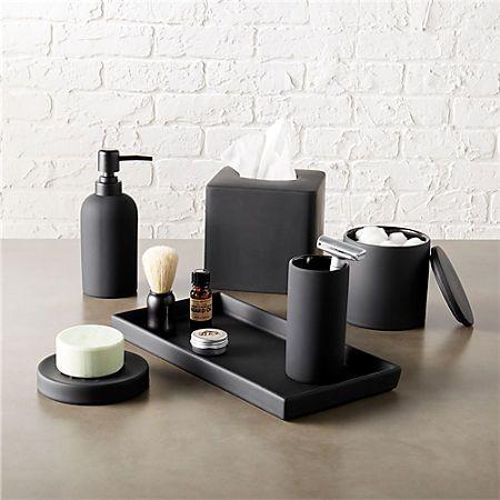 Rubber Coated Black Bath Countertop Accessories Modern Bathroom
