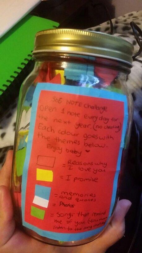 Ein Glas Mit 365 Noten Das Ich Fur Meinen Geliebten Gemacht Habe 365 Note Jar Birthday Gifts For Boyfriend Diy Boyfriend Crafts
