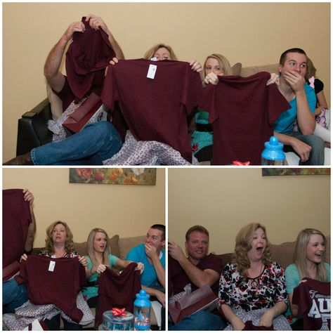 "The best pregnancy announcement!! ""Grandma"" ""auntie"" on their shirts"