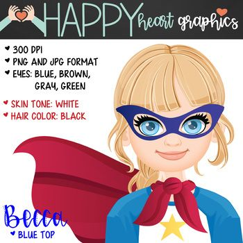 Super Hero Female Girl Brunette Hair Clipart Happy Heart Graphics This Is A Set Of 8 Individual Files To Use I Heart Graphics Happy Heart Female Girl