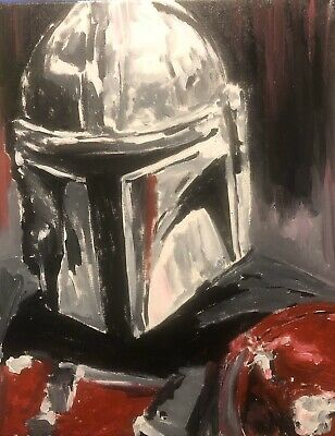 Mandalorian The Bounty Hunter Original Painting On Stretched Canvas Ebay Original Canvas Art Original Paintings Painting