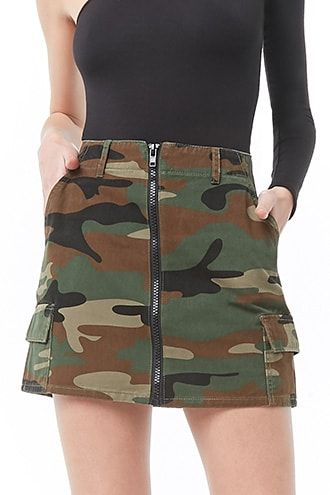 Product Name:Zip-Front Camo Cargo Skirt, Category:bottoms_skirt,