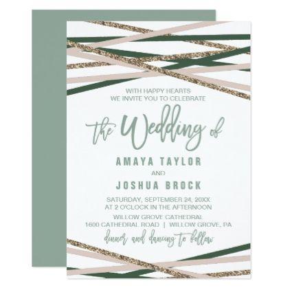 Green And Blush Streamers The Wedding Of Invitation Zazzle Com