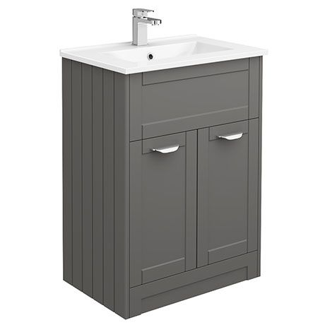 Keswick Grey 620mm Traditional Floorstanding Vanity Unit