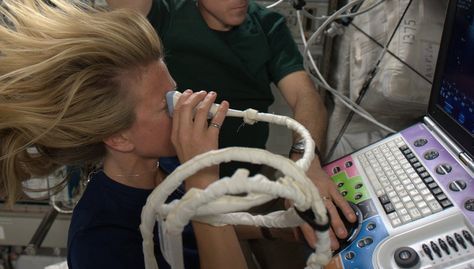 Ocular ultrasound, remotely guided from Houston.  I appreciate that, in space, we can use water instead of gel!  KN from space.