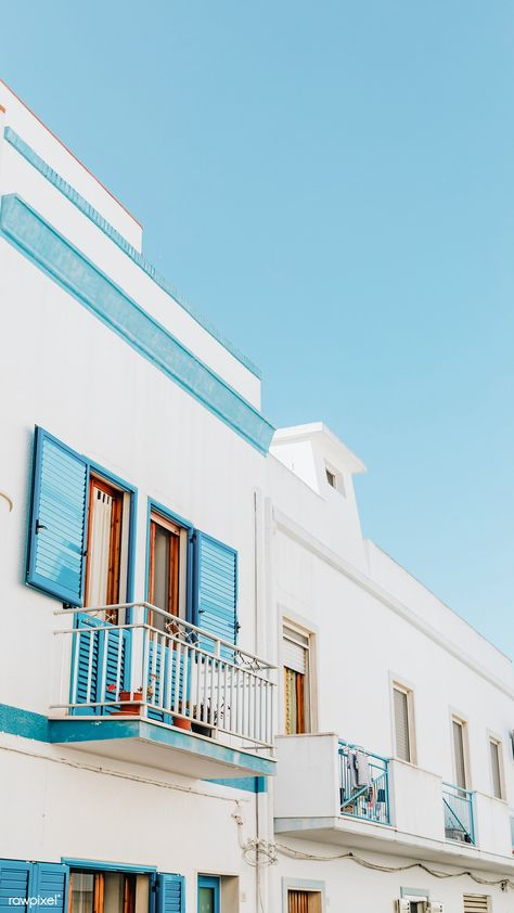 Old residential building in Sardinia Italy premium image by Karolina Kaboompics Light Blue Aesthetic, Blue Aesthetic Pastel, Aesthetic Pastel Wallpaper, Aesthetic Colors, Aesthetic Images, Aesthetic Wallpapers, Aesthetic Collage, Aesthetic Photo, Bedroom Wall Collage