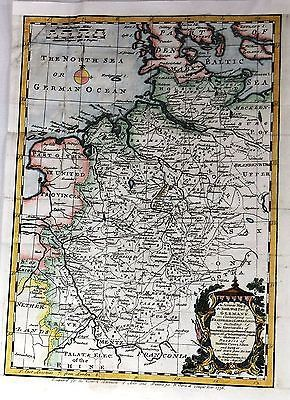 Bowens Map North West Part of Germany HandCol Engraving 1756