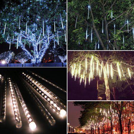 30cm 144 Led Lights 8 Tubes Meteor Shower Rain Snowfall Tree Garden Outdoor Al04 Walmart Com Meteor Shower Fairy Lights Outdoor Gardens